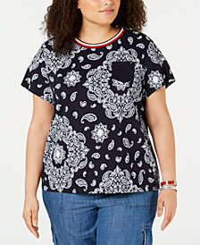 Tommy Hilfiger Plus Size Cotton Rebel Paisley T-Shirt