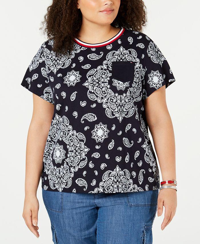 Tommy Hilfiger - Plus Size Cotton Rebel Paisley T-Shirt