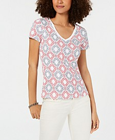 Cotton Printed V-Neck Top, Created for Macy's