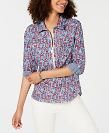 Tommy Hilfiger Zip-Neck Printed Cotton Top, Created for Macy's