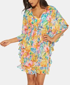Bleu by Rod Beattie Floral-Print Caftan Cover-Up
