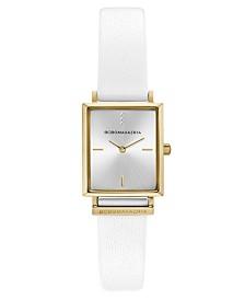 BCBGMAXAZRIA Ladies Rectangle White Genuine Leather Strap Watch, 22mm x 23mm