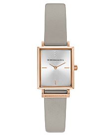 BCBGMAXAZRIA Ladies Rectangle Gray Genuine Leather Strap Watch, 22mm x 23mm