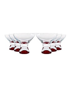 Red Vanilla Samba Colors Martini Dessert Glass 11 Oz, Set of 6