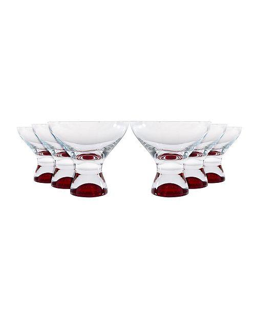 Red Vanilla Samba Colors Martini Dessert Glass 11 Oz, Set of 6