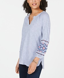 Style & Co Petite Cotton Bubble-Sleeve Top, Created for Macy's