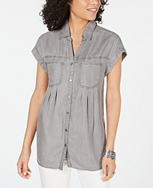 Petite Pintucked Chambray Shirt, Created for Macy's