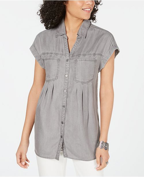 Style & Co Petite Pintucked Chambray Shirt, Created for Macy's
