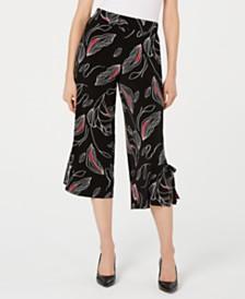 Alfani Printed Tie-Hem Cropped Pants, Created for Macy's
