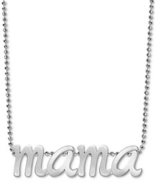 """Mama Scripted 16"""" Pendant Necklace in Sterling Silver"""