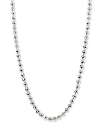 """Beaded 20"""" Chain Necklace in 14k White Gold"""