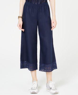 Lace-Trim Cropped Pants, Regular & Petite