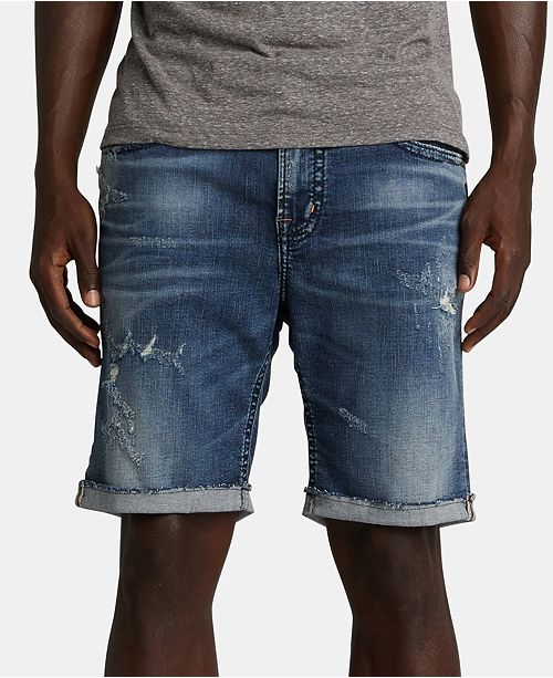 Silver Jeans Co. Men's Allan Classic-Fit Performance Stretch Destroyed Denim Shorts