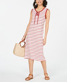 Striped Lace-Up Midi Dress, Created for Macy's