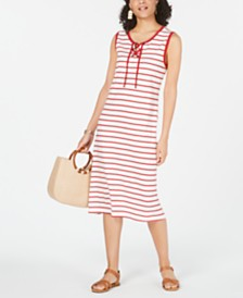 Style & Co Striped Lace-Up Midi Dress, Created for Macy's
