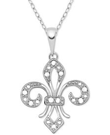 "Diamond Fleur-de-Lis 18"" Pendant Necklace (1/10 ct. t.w.) in Sterling Silver"