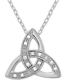 "Diamond Celtic Trinity 18"" Pendant Necklace (1/10 ct. t.w.) in Sterling Silver"
