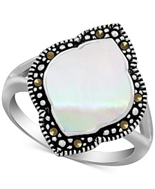 Mother-of-Pearl & Marcasite Statement Ring in Fine Silver-Plate