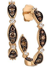Le Vian Chocolatier® Diamond Hoop Earrings (3/4 ct. t.w.)  in 14k Rose Gold