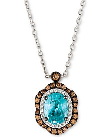 Le Vian® Blueberry Zircon™ (1-9/10 ct. t.w.), Vanilla Diamonds® (1/8 ct. t.w.) & Chocolate Diamonds® (1/3 ct. t.w.) Pendant Neckace in 14k White Gold