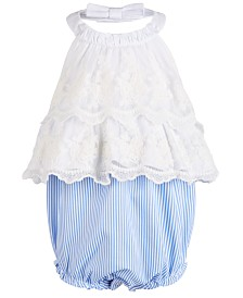 Bonnie Baby Baby Girls Lace Halter Bubble Romper