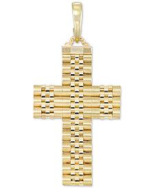 Men's Italian Gold Textured Cross Enhancer Pendant in 14k Gold