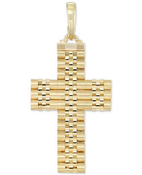 Macy's Men's Italian Gold Textured Cross Enhancer Pendant in 14k Gold