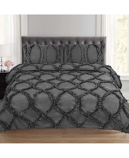 Sweet Home Collection Tatiana Ruched Fancy Ribbed Lattice King 3-Pc Duvet Set