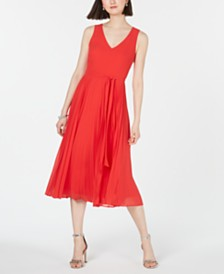 I.N.C. Pleated-Skirt Midi Dress, Created for Macy's