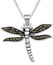 """Marcasite Dragonfly 18"""" Pendant Necklace in Fine Silver-Plate"""