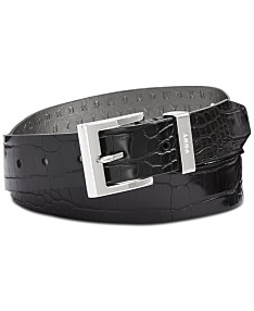 73e83816c DKNY Croc-Embossed Faux Leather Belt