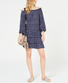 MICHAEL Michael Kors Printed Smocked Flouncy Dress