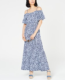 MICHAEL Michael Kors Ikat-Print Cold-Shoulder Maxi Dress