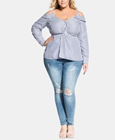 City Chic Trendy Plus Size Denim-Stripe Top