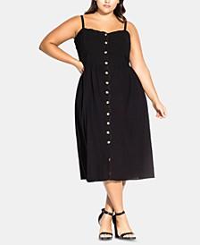 Plus Size Cotton Scalloped Button-Front Dress