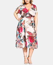 Trendy Plus Size Split-Sleeve Capelet Fit & Flare Dress