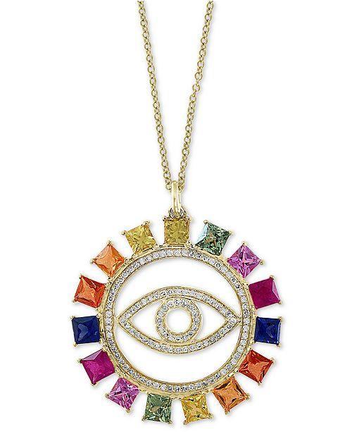"EFFY Collection EFFY® Multi-Gemstone (2-1/2 ct. t.w.) & Diamond (1/4 ct. t.w.) Evil Eye 18"" Pendant Necklace in 14k Gold"