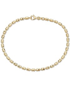 Textured Barrel Link Bracelet in 14k Gold