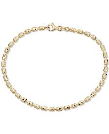 Italian Gold Textured Barrel Link Bracelet in 14k Gold