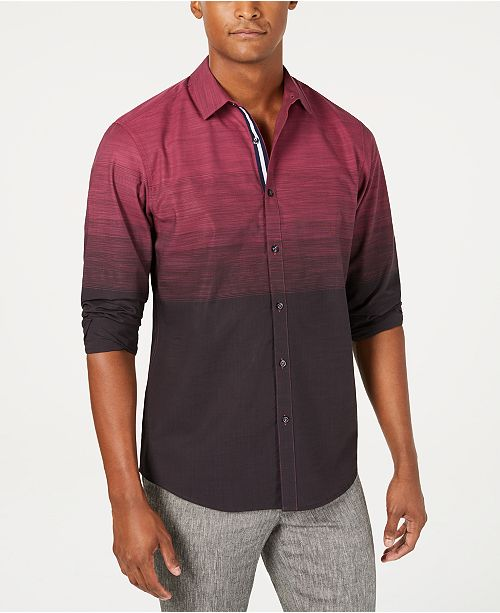 INC International Concepts INC Men's Ombré Striped Shirt, Created for Macy's