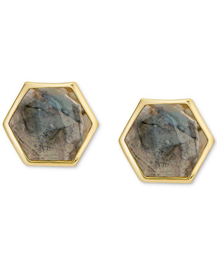 Macy's - Labradorite Hexagon Stud Earrings in 18k Gold-Plated Sterling Silver