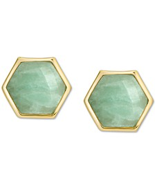 Amazonite Hexagon Stud Earrings in 18k Gold-Plated Sterling Silver