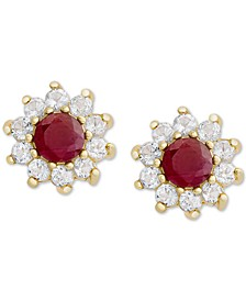 Certified Ruby (1-1/5 ct. t.w.) & Cubic Zirconia Halo Stud Earrings in 18k Gold-Plated Sterling Silver