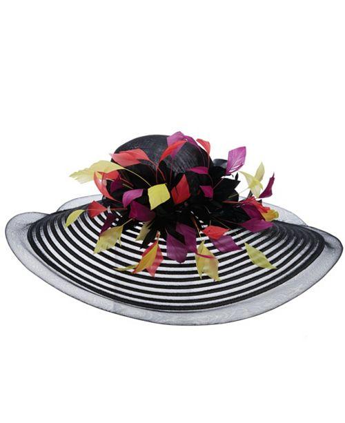 Scala Big Brim Multi Colored Feather Hat