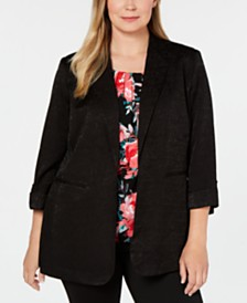 Calvin Klein Plus Size Single-Button Floral-Embossed Blazer