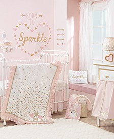 Confetti Hearts Nursery 4-Piece Baby Crib Bedding Set