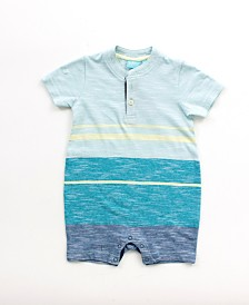Baby Boy Short Sleeve Striped Henley Romper
