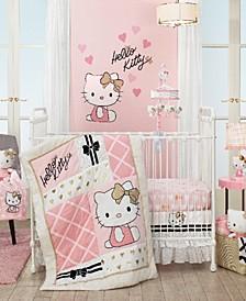 Hello Kitty with Hearts Nursery 3-Piece Baby Crib Bedding Set