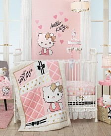 Lambs & Ivy Hello Kitty with Hearts Nursery 3-Piece Baby Crib Bedding Set