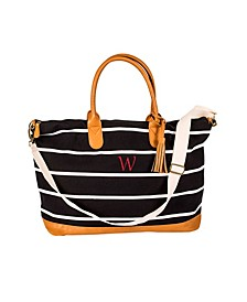 Personalized Black Striped Oversized Weekender Tote